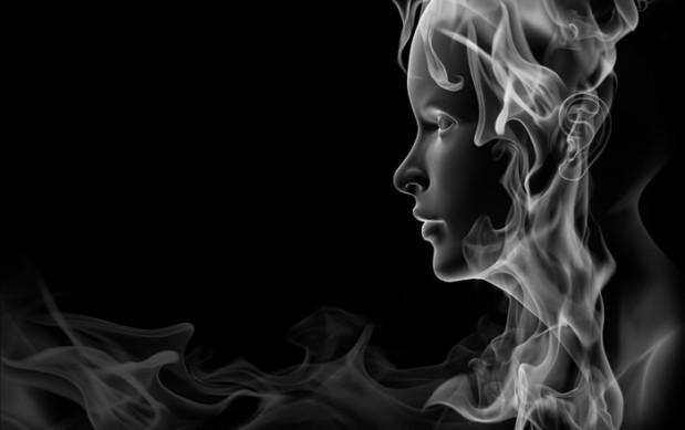 Face made of smoke